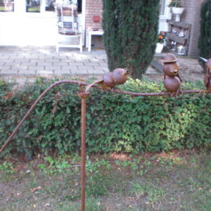 Windfiguur 3 roest kleurige vogeltjes-0