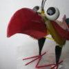 3 verschillende meer kleurige metalen vogels-305