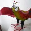 3 verschillende meer kleurige metalen vogels-303