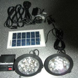 Zonnepaneel met 2 led lampen met 12 lampjes-0