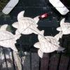 Muurdecoratie schildpadden metaal 100 cm-455